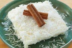 Brazilian dessert: sweet couscous (tapioca) pudding (cuscuz doce Stock Photo