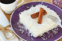 Brazilian dessert: sweet couscous (tapioca) pudding (cuscuz doce Stock Image