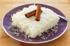 Brazilian dessert: sweet couscous (tapioca) pudding (cuscuz doce Royalty Free Stock Images