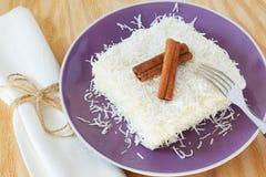 Brazilian dessert: sweet couscous (tapioca) pudding (cuscuz doce Royalty Free Stock Photography