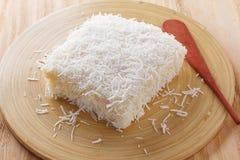 Brazilian dessert: sweet couscous (tapioca) pudding (cuscuz doce Stock Photos