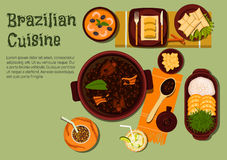 Brazilian dinner with feijoada stew flat icon Stock Image