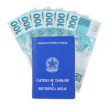 Brazilian document work and social security stock image
