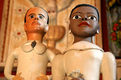 Brazilian Dolls. Artistic Brazilian dolls of a multiracial couple traditionally made, for sale in a shop in Embu, Sao Paulo, Brazil Royalty Free Stock Photography