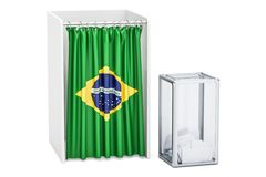 Brazilian election concept, ballot box and voting booths with fl Royalty Free Stock Image