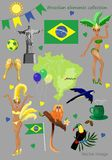 Brazilian elements collection stock illustration