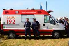 Brazilian Emergency Rescue Service SAMU standing by for a possible call stock photography