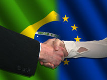 Brazilian and EU handshake Royalty Free Stock Photos