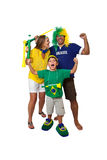 Brazilian family fans celebrating Stock Photography