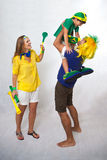 Brazilian family fans Stock Images