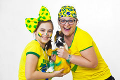 Brazilian family supporters and rabbit Royalty Free Stock Images