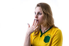 Brazilian fan apprehensive on white background Stock Photography