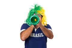 Brazilian fan blowing a vuvuzela Royalty Free Stock Image