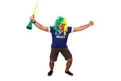 Brazilian fan celebrating Stock Image