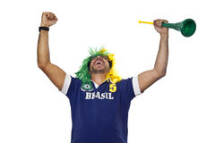 Brazilian fan celebrating Stock Photos