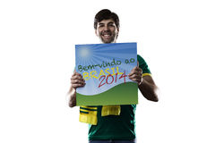 Brazilian Fan holding a welcome to Brazil sign Stock Photos