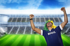 Brazilian fan screaming at stadium Royalty Free Stock Photo