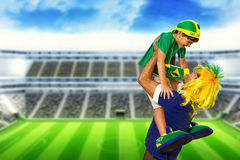 Brazilian fan screaming at stadium Royalty Free Stock Image