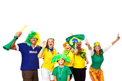 Brazilian fans celebrating. Brazilian fans half body celebrating and cheering on footer / white background Royalty Free Stock Photos