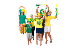 Brazilian fans celebrating Royalty Free Stock Photo