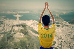 Brazilian fans clapping hands Royalty Free Stock Photos