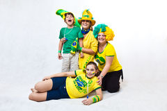 Brazilian fans on ground Royalty Free Stock Image