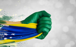Brazilian fans patriot Stock Photography