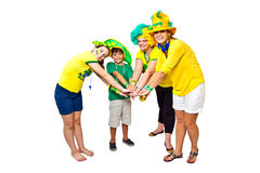 Brazilian fans stacking hands Royalty Free Stock Photography