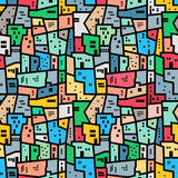Brazilian favela. Bright colored seamless pattern. Royalty Free Stock Image