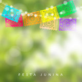 Brazilian Festa Junina or Midsummer greeting card, invitation. Garden party decoration, string of lights, paper flags. Modern blurred background, vector Stock Images
