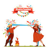 Brazilian Festa Junina Party banner. Vector illustration.  Royalty Free Stock Photos