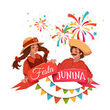 Brazilian Festa Junina Party banner. Vector illustration.  Royalty Free Stock Image