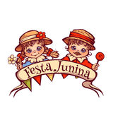 Brazilian Festa Junina Party girl and boy with ribbon banner. Vector illustration Stock Images