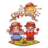 Brazilian Festa Junina Party girl and boy with ribbon banner. Vector illustration.  Royalty Free Stock Photography
