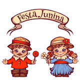 Brazilian Festa Junina Party girl and boy with ribbon banner. Vector illustration.  Stock Photos