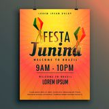 Brazilian festival of festa junina poster design template Stock Photography