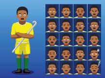 Brazilian Field Hockey Player Cartoon Emotion Faces Vector Illustration. Cartoon Emoticons EPS10 File Format Stock Image