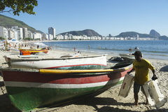 Brazilian Fisherman Copacabana Beach Rio Stock Photo