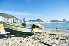 Brazilian Fishermen Copacabana Beach Rio Royalty Free Stock Photos