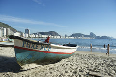 Brazilian Fishing Boat Copacabana Beach Rio Stock Images