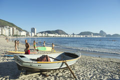Brazilian Fishing Boat Copacabana Beach Rio Royalty Free Stock Image