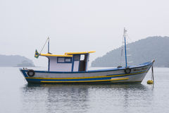 Brazilian fishing boat moored at buoy Royalty Free Stock Images