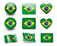 The Brazilian flag. Set of icons and flags. glossy and matte on a white background Royalty Free Stock Photo