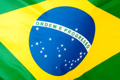 Brazilian flag. Background - Close up of the silky Brazilian flag royalty free stock photography