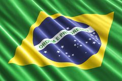 Brazilian flag background, 3D. Rendering Royalty Free Stock Photos