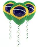 Brazilian flag balloon. Brazilian flag on three party balloons Royalty Free Stock Images
