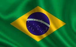 Flag of Brazil. Part of the series. Brazilian flag blowing in the wind Royalty Free Stock Photography