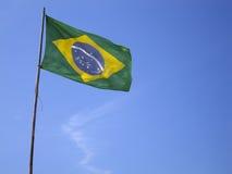 Brazilian flag on blue sky Stock Image