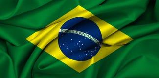 Brazilian flag - Brazil. Brazilian flag waving on satin texture