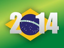 2014 brazilian flag. brazil 2014 flag illustration. Design over a green background Royalty Free Stock Images